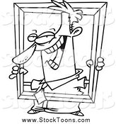 Stock Cartoon of a Black and White Goofy Businessman Holding up a Frame by Ron Leishman