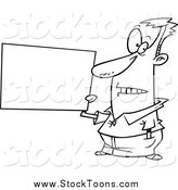 Stock Cartoon of a Black and White Guy Holding a Blank Sign by Toonaday