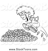 Stock Cartoon of a Black and White Happy Little Boy Jumping in Leaves by Ron Leishman