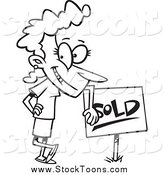 Stock Cartoon of a Black and White Happy Woman Leaning on a Sold Sign by Toonaday