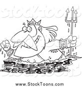 Stock Cartoon of a Black and White King Neptune Surfacing by Toonaday