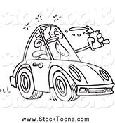 Stock Cartoon of a Black and White Male Drunk Driver by Toonaday