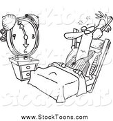 Stock Cartoon of a Black and White Man Tuning out an Alarm Clock with Ear Muffs by Toonaday