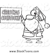 Stock Cartoon of a Black and White Santa Holding a Christmas Countdown Sign by Toonaday