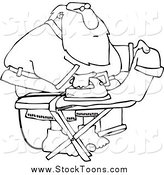 Stock Cartoon of a Black and White Santa Ironing His Pants by Djart