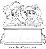 Stock Cartoon of a Black and White School Boy and Girl Studying at a Desk by Visekart