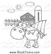 Stock Cartoon of a Black and White Spotted Calf in a Pasture by a Barn and Silo by Hit Toon
