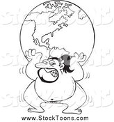 Stock Cartoon of a Black and White Sumo Wrestler Lifting the Globe by Ron Leishman