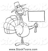 Stock Cartoon of a Black and White Thanksgiving Pilgrim Turkey Bird Holding a Blank Sign by Hit Toon