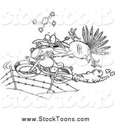 Stock Cartoon of a Black and White Turkey Bird Escaping on a Motorcycle by Ron Leishman