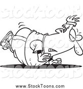 Stock Cartoon of a Black and White Unfit Fat Man Doing Pushups by Ron Leishman