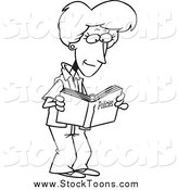 Stock Cartoon of a Black and White Woman Reading a Policy Book by Toonaday