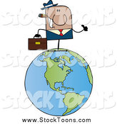 Stock Cartoon of a Black Businessman Waving on a World Globe by Hit Toon