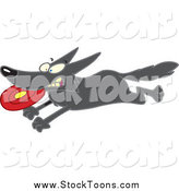 Stock Cartoon of a Black Dog Running with a Frisbee by Toonaday