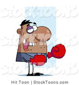 Stock Cartoon of a Black Eyed, Stubbled, Missing Toothed Boxer by Hit Toon