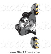 May 11th, 2014: Stock Cartoon of a Black Jaguar Looking Around a Sign by Toons4Biz