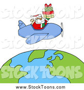 Stock Cartoon of a Black Santa Flying a Plane Above the Globe by Hit Toon