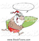 Stock Cartoon of a Black Santa Talking and Running with a Surfboard by Hit Toon