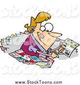 Stock Cartoon of a Blond Happy Woman Clipping Coupons by Ron Leishman