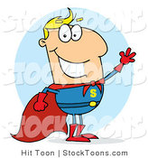 Stock Cartoon of a Blond Super Hero by Hit Toon