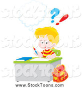 Stock Cartoon of a Blond White School Boy Doing Homework at His Desk by Alex Bannykh