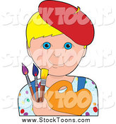 Stock Cartoon of a Blonde Haried, Blue Eyed Boy Artist Wearing Red Beret and Holding Brushes and a Palette by Maria Bell