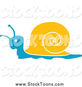 Stock Cartoon of a Blue and Yellow Snail Facing Left by Vector Tradition SM