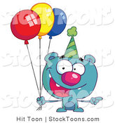 Stock Cartoon of a Blue Birthday Bear by Hit Toon