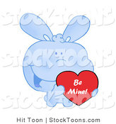 Stock Cartoon of a Blue Bunny Holding up a Heart by Hit Toon