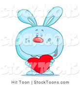 Stock Cartoon of a Blue Bunny Rabbit by Hit Toon