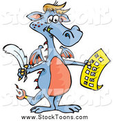 Stock Cartoon of a Blue Dragon Holding a Check off List by Dennis Holmes Designs