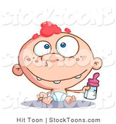 Stock Cartoon of a Blue Eyed and Red Haired Freckeled Baby Boy by Hit Toon