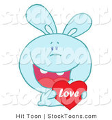 Stock Cartoon of a Blue Valentine Bunny with a Love Heart by Hit Toon
