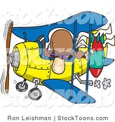 Stock Cartoon of a Bomber Man in a Biplane Preparing to Drop a Bomb by Toonaday