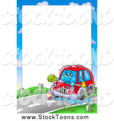 Stock Cartoon of a Border of a Car Washing Itself Around Text Space by Visekart