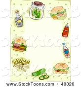 Stock Cartoon of a Border of Hamburgers and Condiments with Copyspace by BNP Design Studio