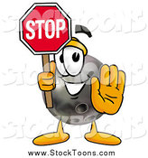 Stock Cartoon of a Bowling Ball Character Holding a Stop Sign by Toons4Biz