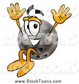 Stock Cartoon of a Bowling Ball Character Jumping by Toons4Biz
