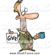 Stock Cartoon of a Broke White Businessman Holding a Cup and Give Sign by Toonaday
