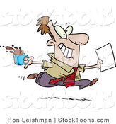 Stock Cartoon of a Brown Nosing Business Man Fetching Coffee by Ron Leishman