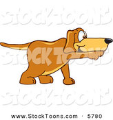 Stock Cartoon of a Brown Pet Dog Mascot Cartoon Character Pointing While Sniffing Something out by Toons4Biz