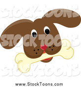 Stock Cartoon of a Brown Puppy Dog Face with a Bone by Pams Clipart