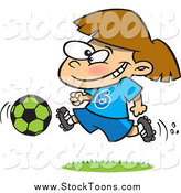 Stock Cartoon of a Brunette Soccer Girl Running by Toonaday