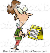 Stock Cartoon of a Brunette Woman Marking a Day on Her Calendar by Ron Leishman