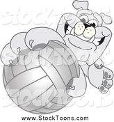 Stock Cartoon of a Bulldog Mascot Reaching up and Grabbing a Volleyball by Toons4Biz