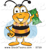 Stock Cartoon of a BumblebBee Mascot Cartoon Character Holding a Dollar Bill by Toons4Biz