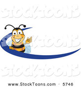 Stock Cartoon of a Bumblebee Mascot Cartoon Character Logo with a Blue Dash by Toons4Biz