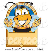 Stock Cartoon of a Bumblebee Mascot Cartoon Character on a Blank Tan Label by Toons4Biz