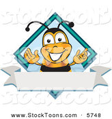Stock Cartoon of a Bumblebee Mascot Cartoon Character on a Blank White Label by Toons4Biz