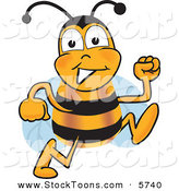 Stock Cartoon of a Bumblebee Mascot Cartoon Character Running by Toons4Biz